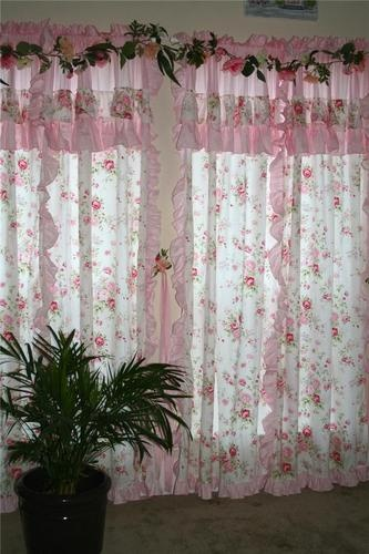2 of Shabby Floral Rose Cottage Chic Cotton Curtain Panel Drape T Custom Made | eBay