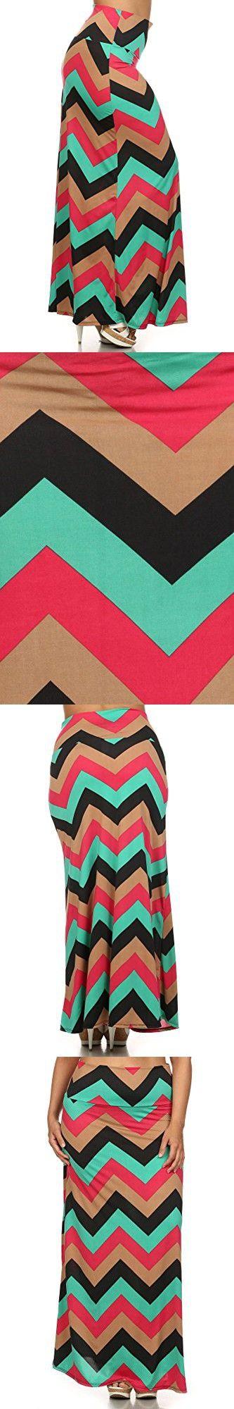 (Plus Size) Chevron Print High Waist Self Banded Maxi Skirt (MADE IN U.S.A)