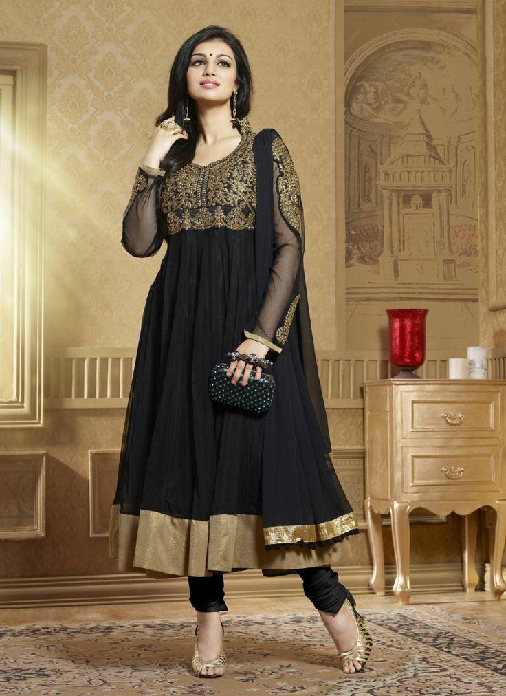Black Georgette Party Wear Churidar Suit Shop Now : http://www.cfashionbazaar.com