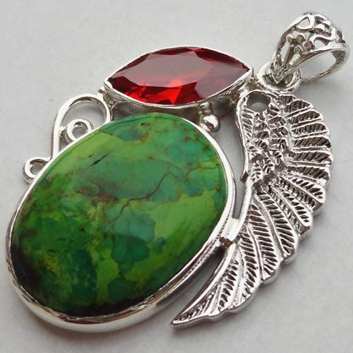 925 Sterling Silver Pendant 2 1/4''Green Copper Turquoise,CZ Jewelry-129