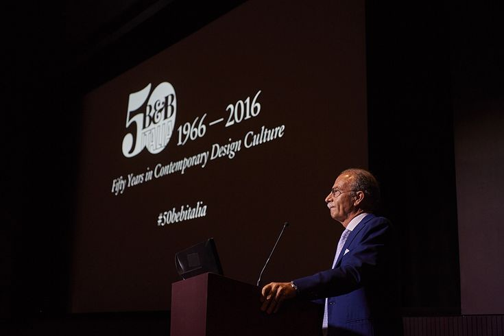 """B&B Italia chairman, Mr Busnelli welcomed the guests with a speech and a reception drink, followed by the screening of documentary film """"B&B Italia. Poetry in the shape. When design meets industry"""" showing the history of B&B Italia since it was founded by Piero Ambrogio Busnelli in 1966."""