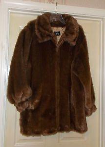 Women's Plus Size 1X Dennis Basso Chocolate Brown Faux Fur Coat + Storage Bag  | eBay