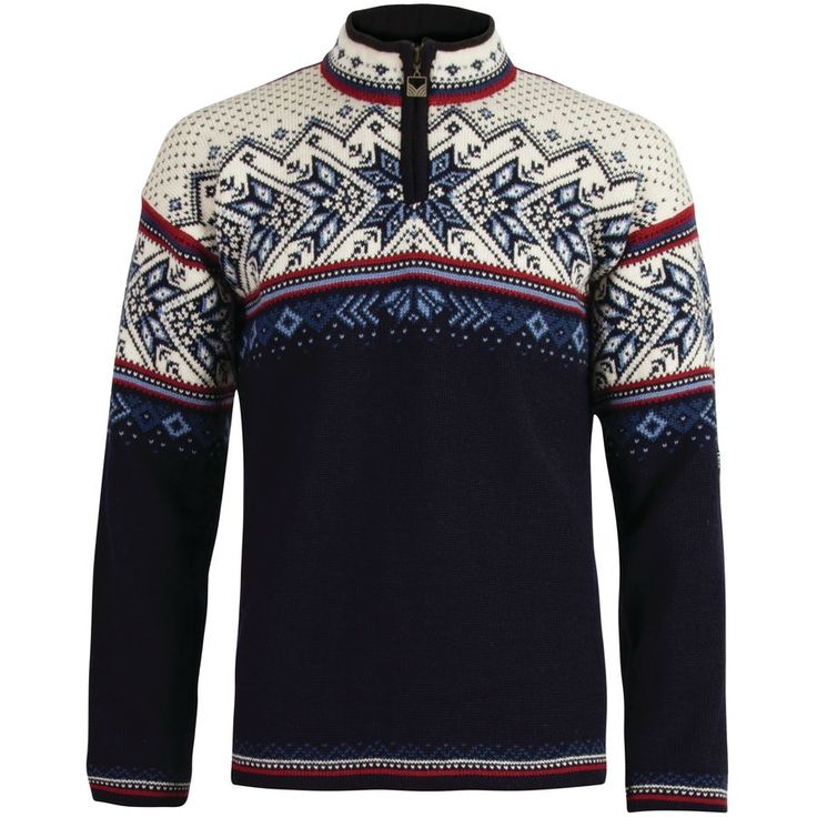 Dale of Norway - Vail Sweater - Men's - Midnight Navy/Red Rose/Off White/Indigo/China Blue