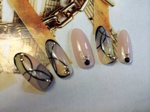 ジェルネイルアート作り方 classical line how to gel nail - YouTube