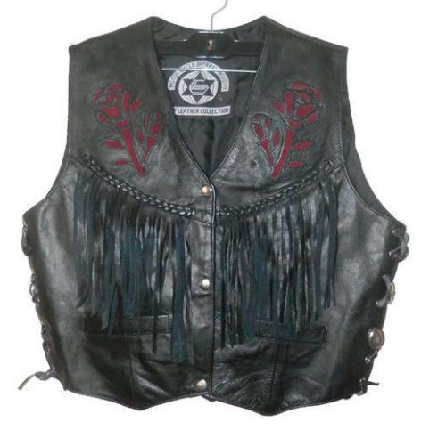 SHAF-LEATHER-COLLECTION-Motorcycle-Biker-Vest-Women-size-XL