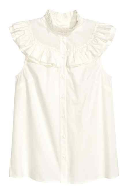 Frilled cotton blouse