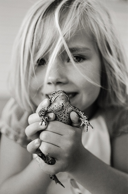You just gotta love a tomboy.  This reminds me of myself as a girl - I was constantly picking up frogs!
