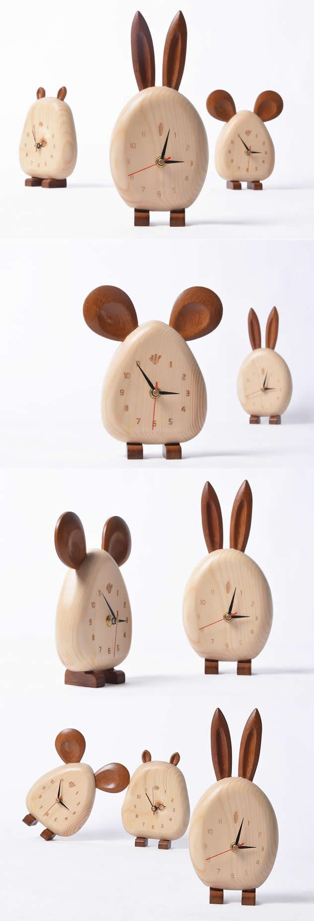 wooden artist, Made natural solid wood Animal table Desk clock