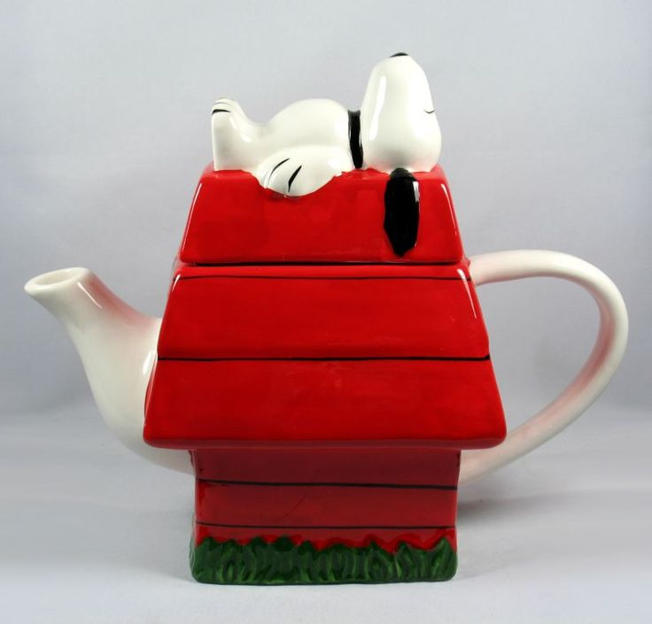 Snoopy's Doghouse teapot ... Peanuts comic strip character on his back on top of red doghouse as knob, ceramic                                                                                                                                                      More