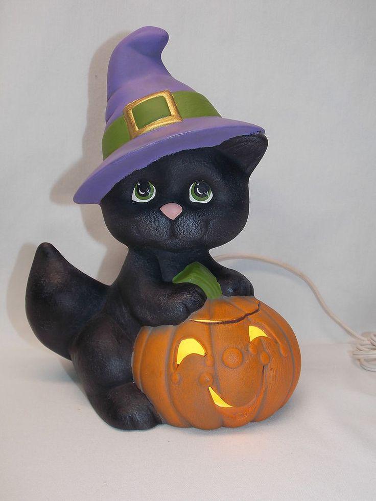 Black Cat With Jack O Lantern Witch Hat Ceramic Electric