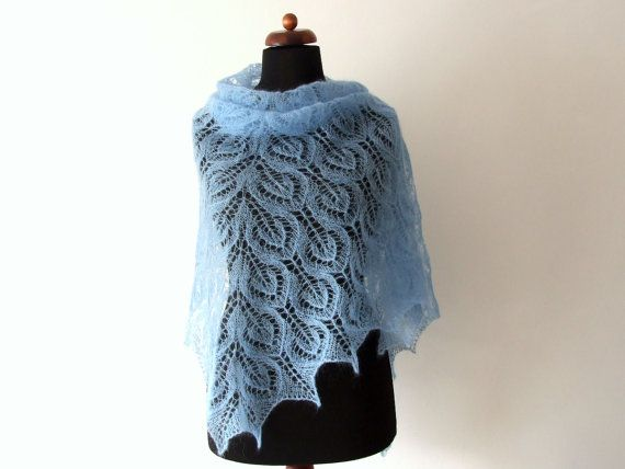 baby blue lace shawl triangle bridal cover up handknit