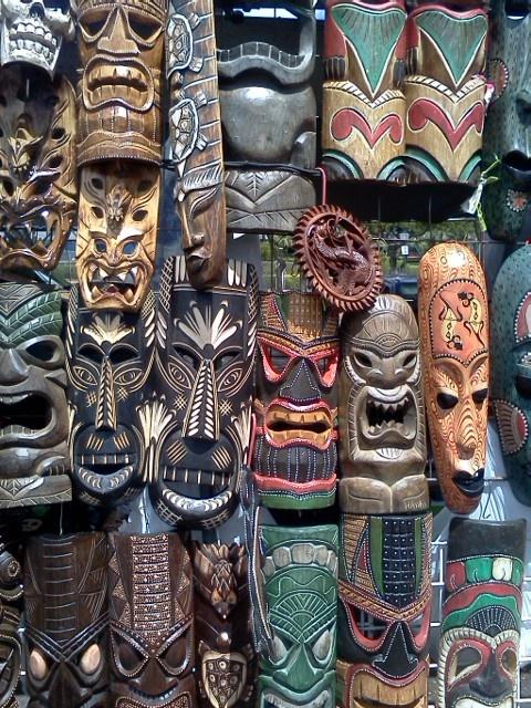 "Photo posted by Debra Zeleznik on Rubber Stamp Plantation: ""Not-So-Tiki Masks at Swap Meet""."