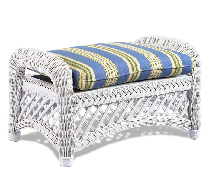 White Wicker Ottoman: Lanai Wicker $349.00