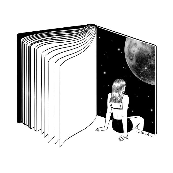 Reading is Dreaming with Your Eyes Open by Henn Kim Vector line art drawing / illustration, reading, book, moon, girl, woman. Black and white.