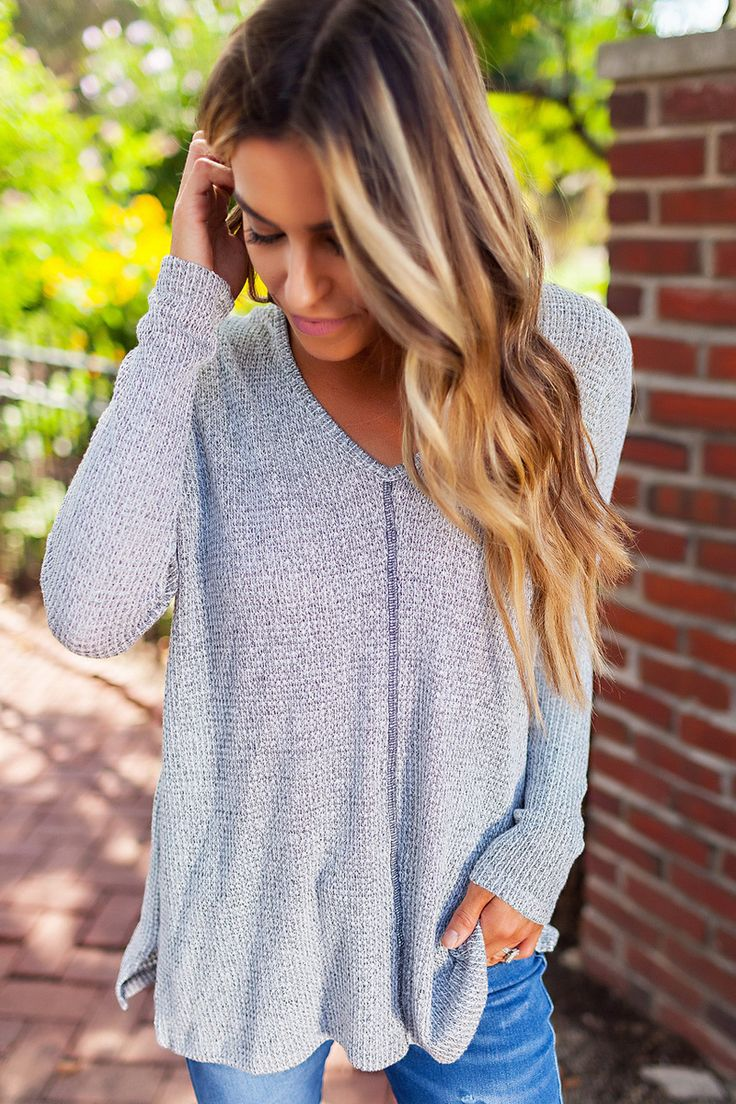 Grey Knit Exposed Seam Long Sleeve - Dottie Couture Boutique