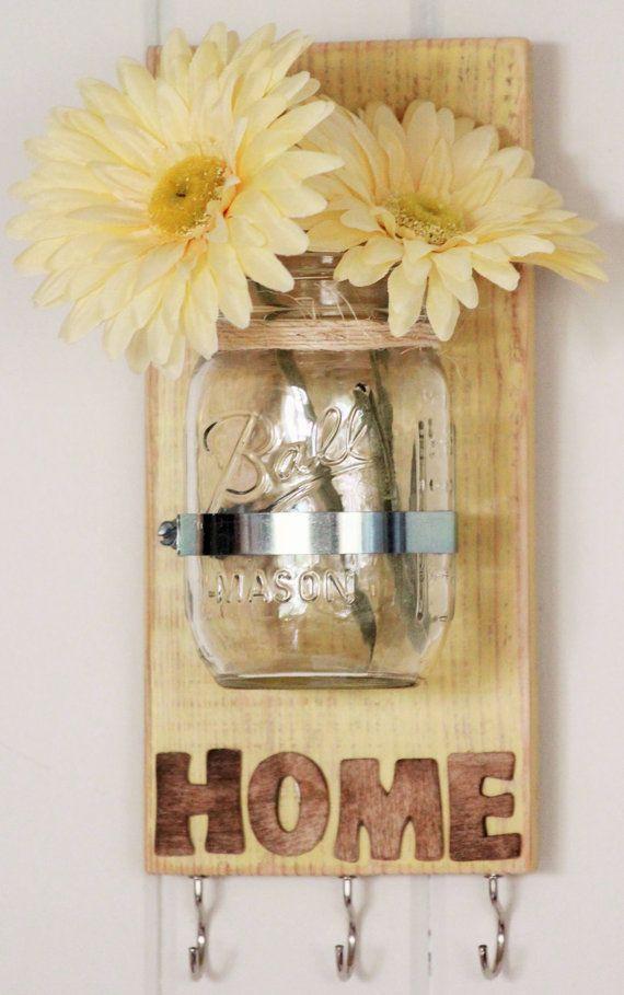 HOUSEWARMING GIFT, Shabby Chic Yellow, Key holder, Chalk paint, Mason Jar Key Holder, Pallet Wood with Mason Jar, reclaimed wood wall decor