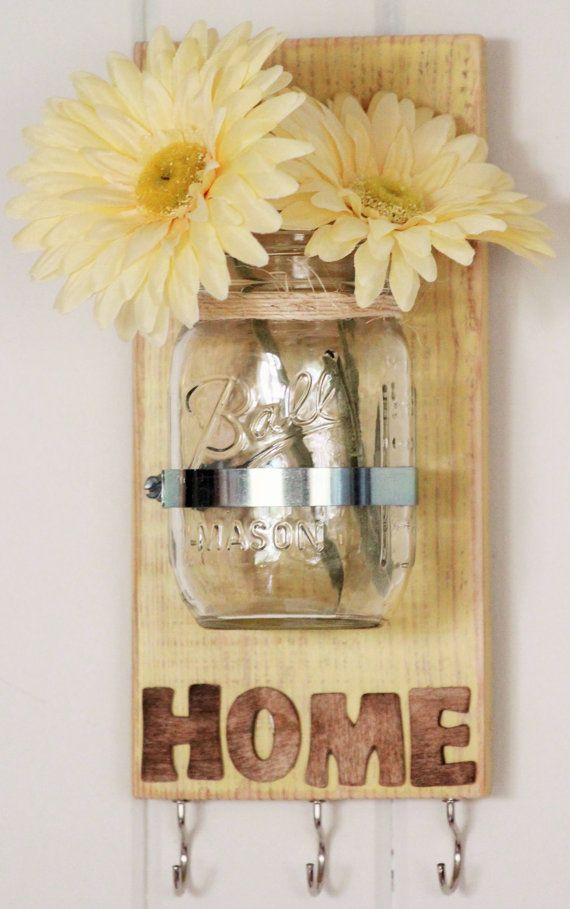 Housewarming Gift Shabby Chic Yellow Key Holder Chalk