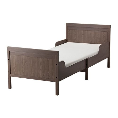 IKEA SUNDVIK Ext bed frame with slatted bed base Grey-brown 80x200 cm Extendable, so it can be pulled out as your child grows.