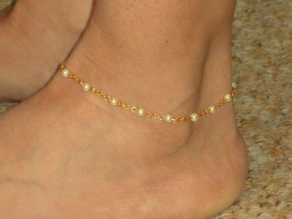 Gold pearl anklet Pearl ankle bracelet Ankle jewelry by GemmaJolee....I like.