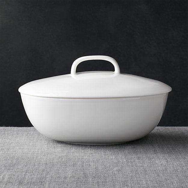 Bennett Oval Serving Bowl with Lid | Crate and Barrel