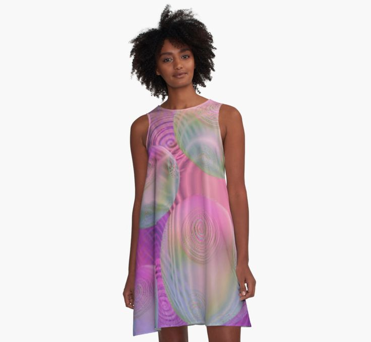 Inner Flow III - Fuchsia & Violet Galaxy  A-Line Dress by Diane Clancy Art #DianeClancy