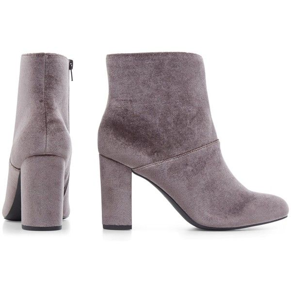 Wide Fit Grey Velvet Block Heel Ankle Boots ($42) ❤ liked on Polyvore featuring shoes, boots, ankle booties, gray boots, wide width ankle boots, wide ankle boots, grey ankle boots and wide width booties