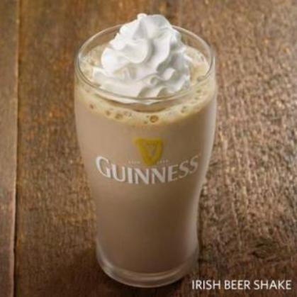 Red Robin Gourmet Burgers Inc are selling a new limited edition 'Irish Beer Shake' 1/2 Cups Chocolate Ice Cream 3 oz. Guinness  1-1/2 oz. Jameson Irish Whisky, 1/4 tsp  xanthan (not necessary - but it helps thicken it up