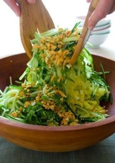 A fresh and healthy cucumber slaw with napa cabbage, cilantro and peanuts.