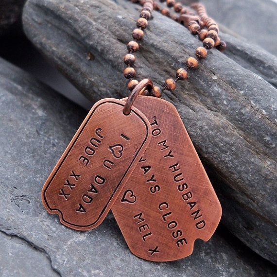 Personalised Dog Tag necklace for men. Ref. PT 2006-11. Solid copper dog tags personalised with your names / date or other message.