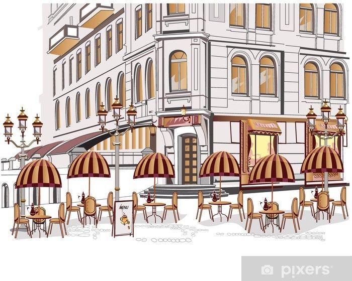 Fototapeta Seria Z Widokiem Na Ulice Z Kawiarni Na Starym Miescie Pixers Zyjemy By Zmieniac Stock Illustration Architecture Poster City View
