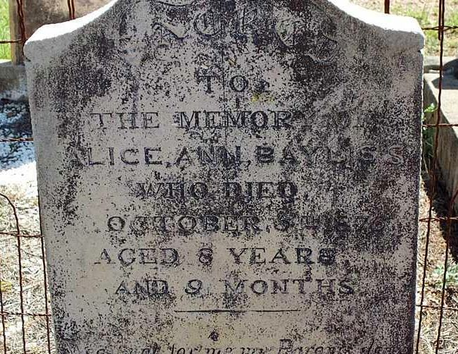 Alice Ann Bayliss died 5 th October 1876, 8 years & 9 weeks. Parents; Thomas & Anne A. Bayliss.