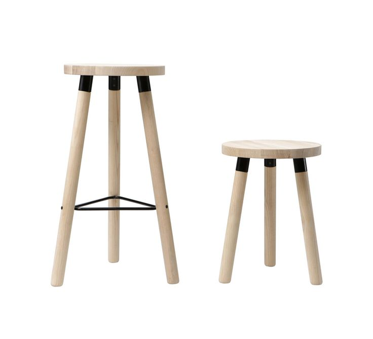 Partridge Stools|FSC White Ash timber, powder coated aluminum brackets, steel leg brace and screws, natural polywax finish. - W 353mm x H 690mm  *custom heights available Seat Ø320mm - See more at: http://designbythem.com/products/partridge-stools#sthash.dAhiz3f7.dpuf