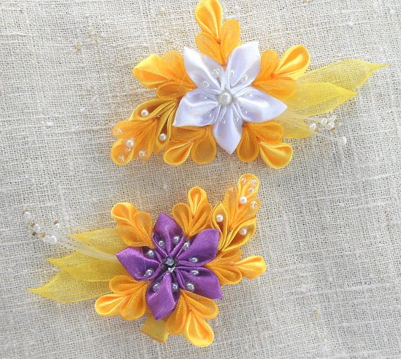 Bright yellow small hairpins of satin ribbons and organza on alligator clip. White, yellow, purple flowers from fabric organza on the clip