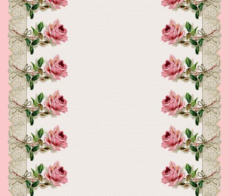 Georgiana  ~ Rose Swag Border Print ~ Dauphine ~ Double  by peacoquettedesigns