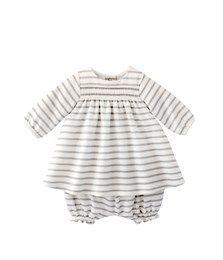 Ensemble bébé fille robe et bloomer à rayure marinière brillante blanc Lait / gris Lurex Argent - Petit Bateau