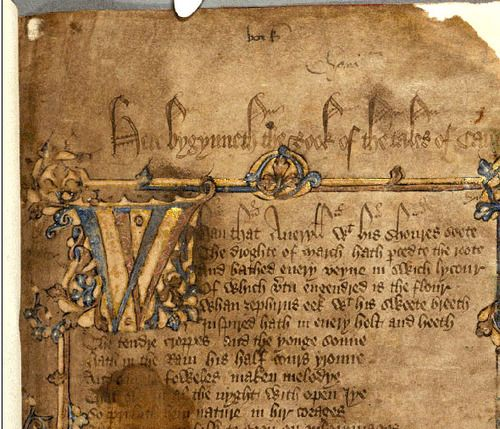 The opening folio of the Hengwrt Chaucer manuscript.Century Manuscript, Ancient Manuscript, Chaucer Manuscript, Chaucer Canterbury, Open Folio, Book, Geoffrey Chaucer, Canterbury Tales, 15Th Century