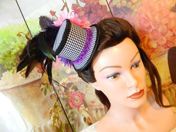 Minihat bw gingham Gothic Burlesque clubbing Hat Millinery Tophat romantic victorian Steampunk Larping Wedding