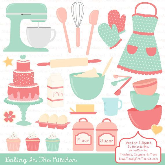 Professional Baking Clipart & Vectors in Mint and by AmandaIlkov