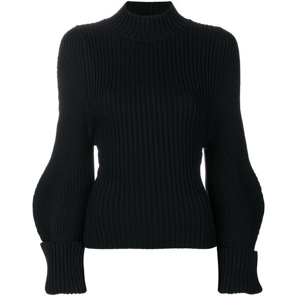 Jacquemus knitted fitted top ($513) ❤ liked on Polyvore featuring tops,  black,