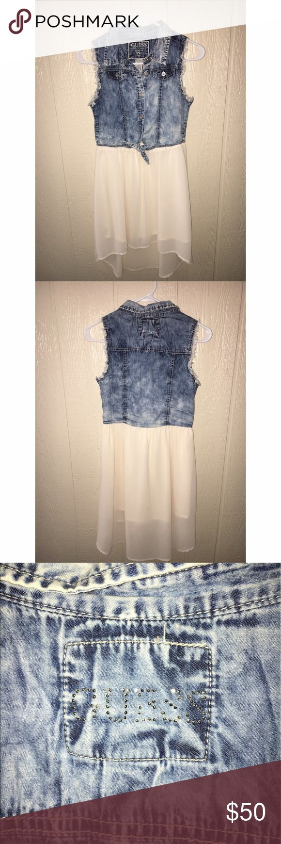 """High low Guess dress Denim and chiffon high low Guess dress. Kids size 14, but I'm 5'5"""" size 1 and it fits me perfectly. Minimally worn, but from washing a few of the metal studs came off of the back as shown in picture. Guess Dresses High Low"""