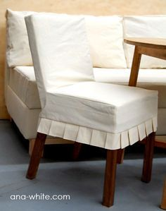 Drop Cloth Parson Chair Slipcovers from Ana White. Tutorial to make slipcover and chair!