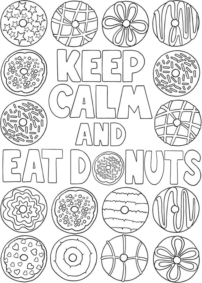 Kleurplaat Keep Calm And Eat Donuts Welcome To Dover Publications