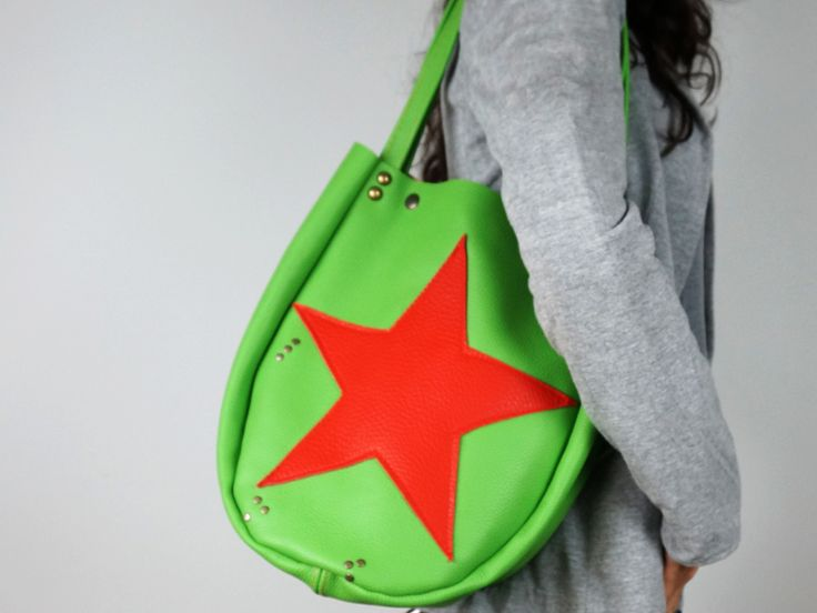 Bright Green Star Shoulder Bag – Green Tote Bag from Neroli Handbags by DaWanda.com