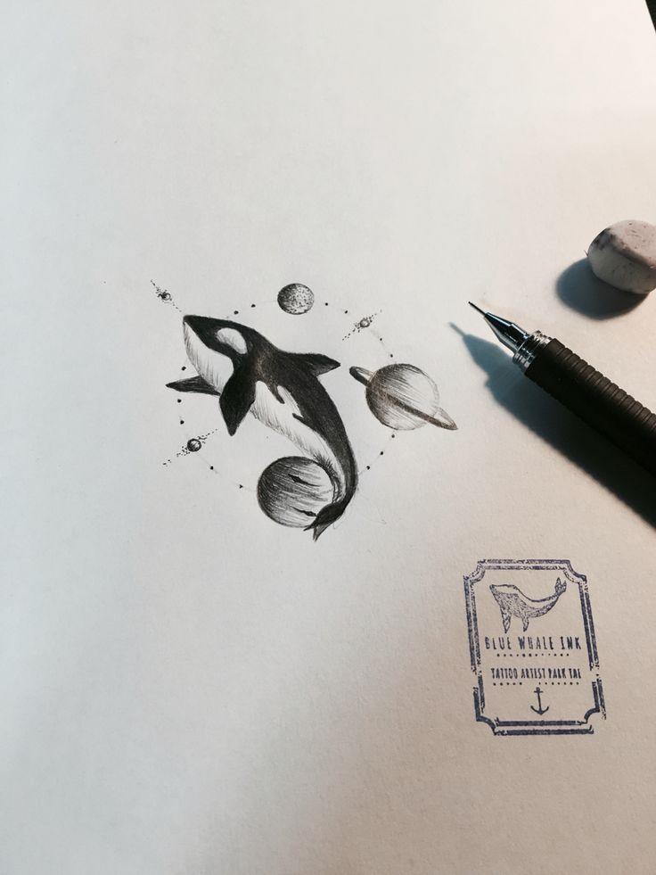 Killer Whale In Universe Circle Tattoo Design, Tattoo Idea  From Blue Whale Ink Design by _park_tae_  Work In Korea, Seoul, Hongdae Kakao: taemin0509 Insta: _park_tae_ Email: hopetaemin@naver.com Phone: 010.9922.2511 #Bluewhaleink