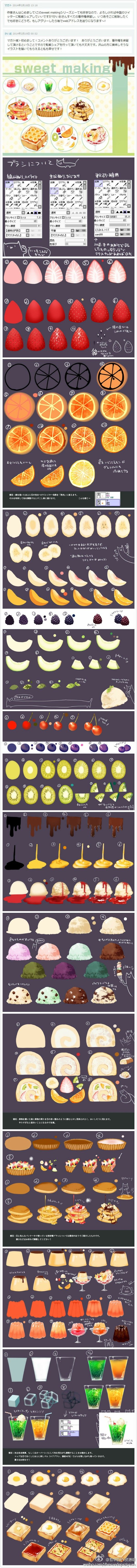 Digtially painting food - step by step examples.