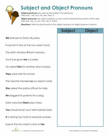 Worksheets: Subject and Object Pronouns