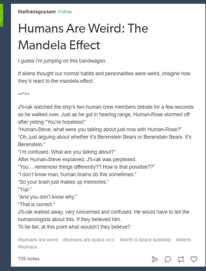 Humans are space in orcs Mandela effect
