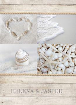 Stoere trouwkaart met thema strand. Huwelijkskaart met zand, schalpen, zee en hart van schelpen. Binnenin mooie foto van jullie samen.