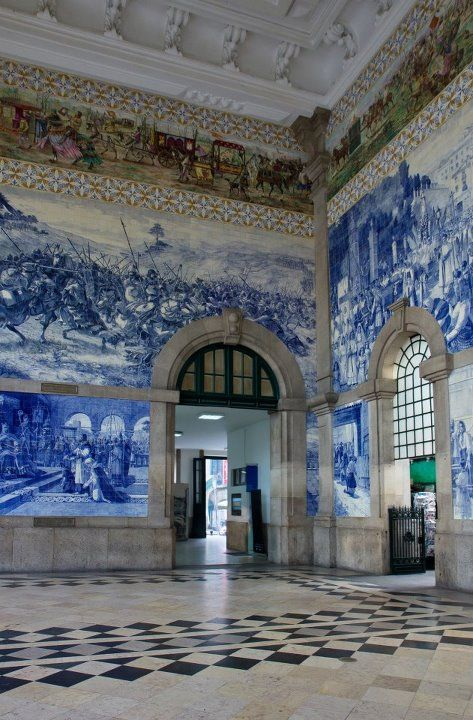 This is one of the most beautiful railway stations in all the world, with spectacular tiles. PORTO, Portugal