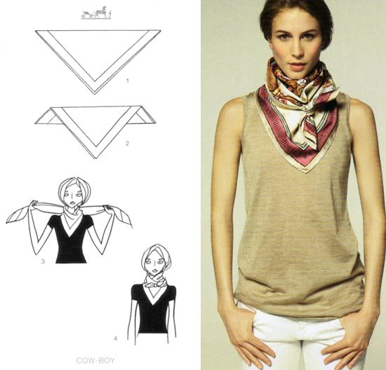 How To Tie A Scarf - Hermès Scarf Knotting Cards Vol.2 - COW-BOY